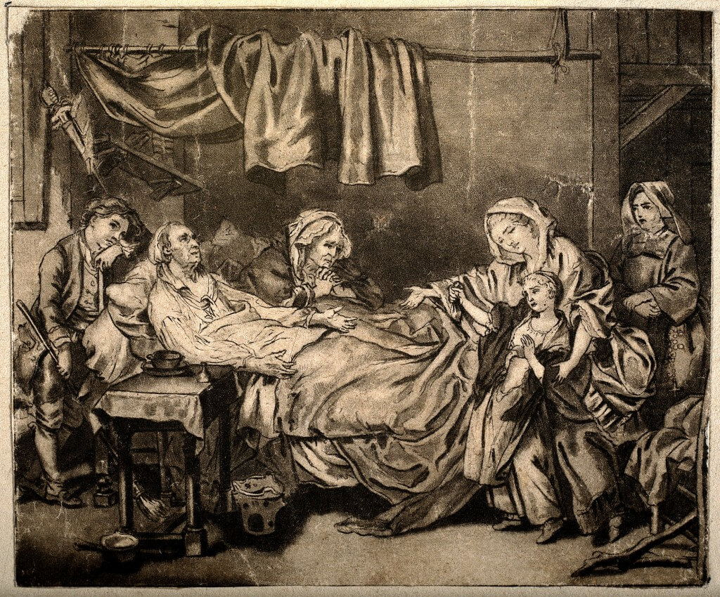 V0015145 An old couple lying in their sick bed receive charity from a Credit: Wellcome Library, London. Wellcome Images images@wellcome.ac.uk http://wellcomeimages.org An old couple lying in their sick bed receive charity from a reluctant girl, a nun stands in the background. Pen and ink drawing by J.B. Greuze. By: Jean-Baptiste GreuzePublished: - Copyrighted work available under Creative Commons Attribution only licence CC BY 4.0 http://creativecommons.org/licenses/by/4.0/